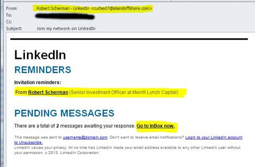 Avoiding malware emails pretending to be from linkedin ian hardacre stopboris Image collections